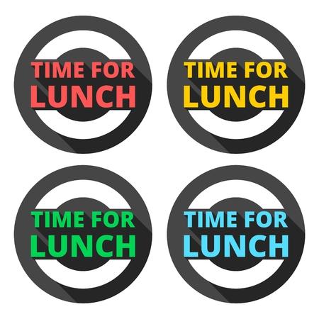 Tiempo Para los iconos del almuerzo con una larga sombra