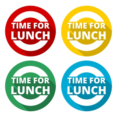 Time For Lunch icons set with long shadow Illustration
