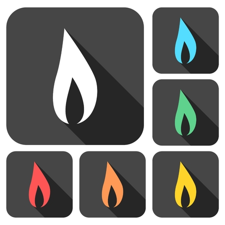 explosive gas: Gas Flame Icons set with long shadow Illustration
