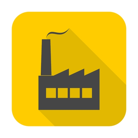 Factory icon with long shadow Illustration