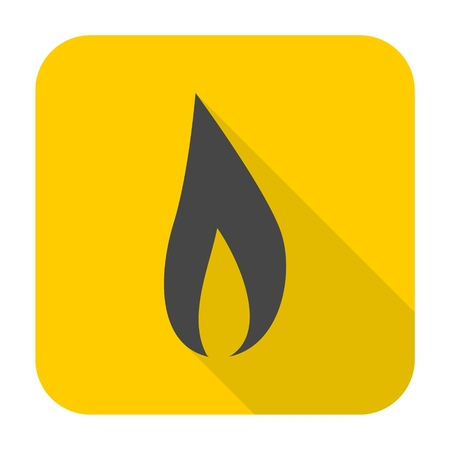 Gas Flame Icon with long shadow