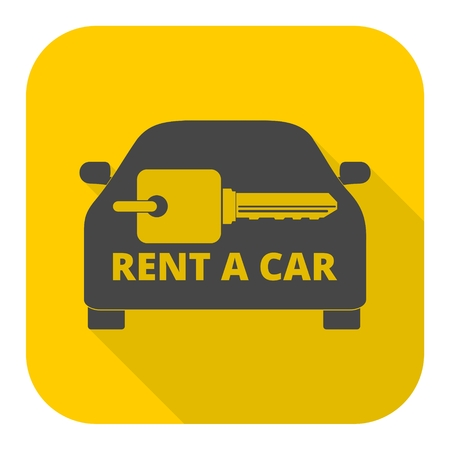 Rent a Car Transportation design icon with long shadow