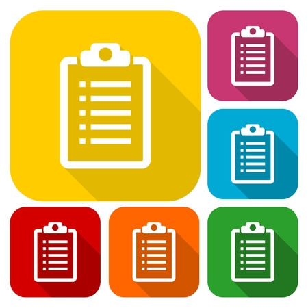 filling folder: Checklist Icons set with long shadow Illustration
