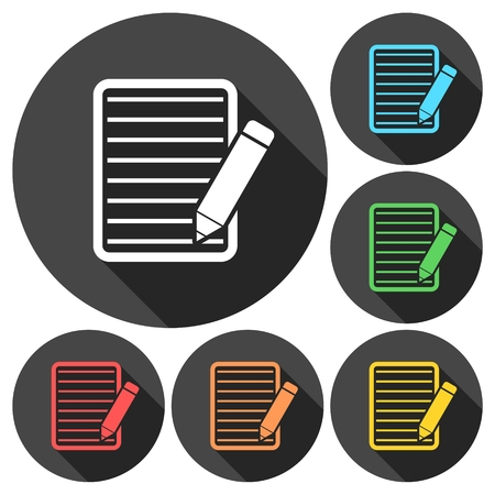 Document With Pencil Icons set with long shadow Illustration