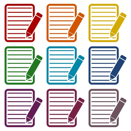 a long poem: Document With Pencil Icons set