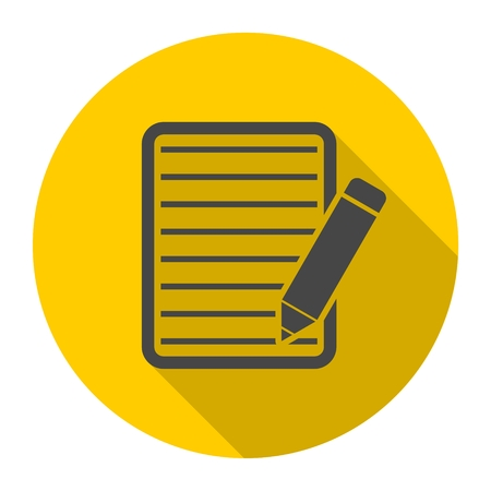 Document With Pencil Icon with long shadow Illustration
