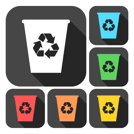 compost: Recycle bin icons set with long shadow