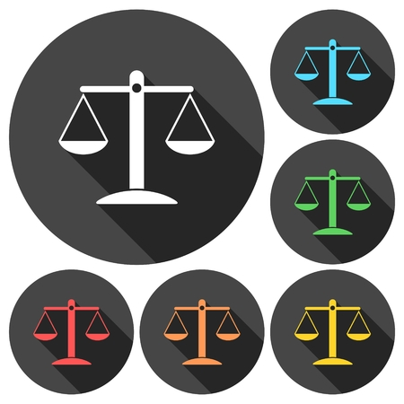 scale of justice: Justice Scale Icons set with long shadow