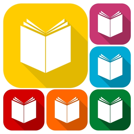 acquaintance: Book Icons set with long shadow