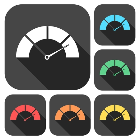 dsl: Speedometer icons set with long shadow