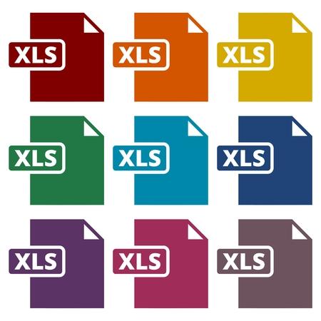 xls: The XLS icon, File format symbol set