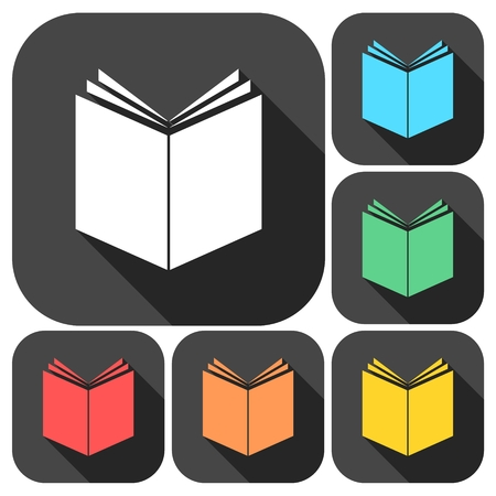 Book Icons set with long shadow