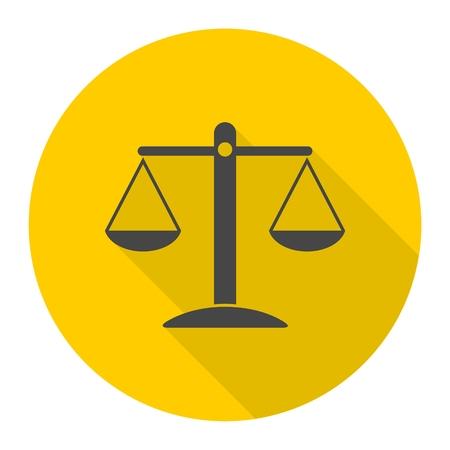 Justitie Schaal icoon met lange schaduw Stock Illustratie