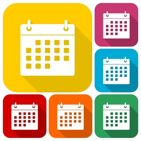 Calendar icons set with long shadow