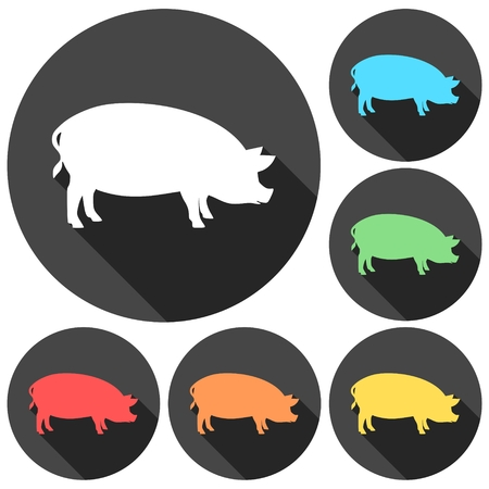 porcine: Silhouette of pig icons set with long shadow