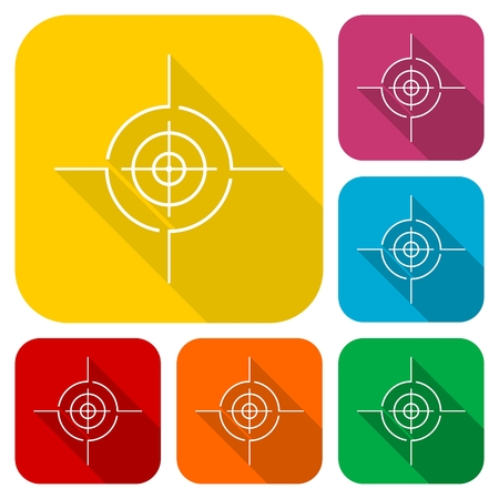 Vector target icons set with long shadow Illustration