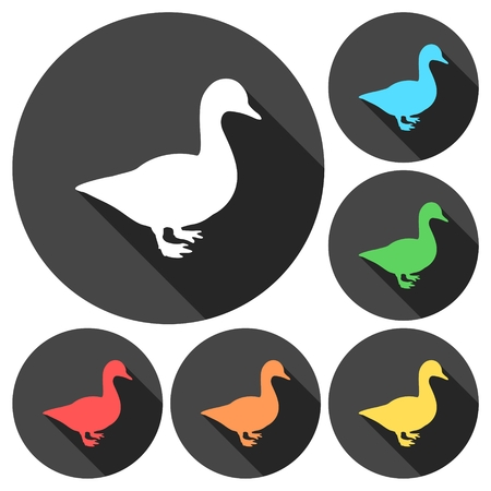 Duck silhouette icons set with long shadow