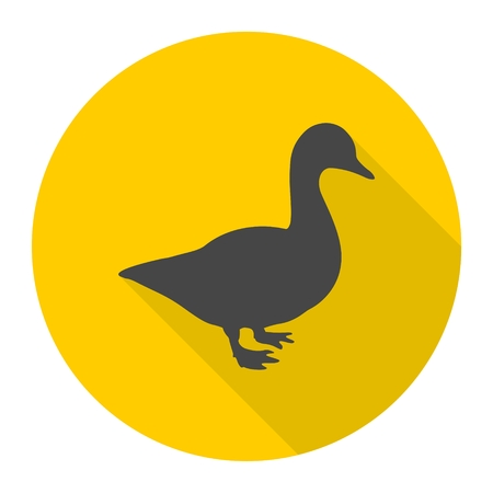 Duck silhouette icon with long shadow