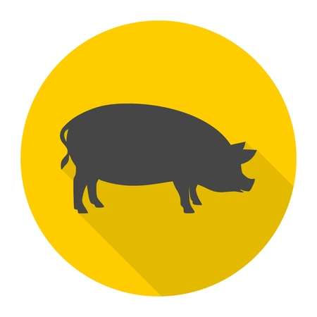 porcine: Silhouette of pig icon with long shadow