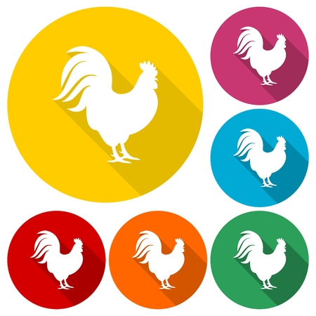 Rooster silhouette icons set with long shadow