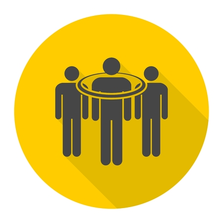 consumer: People standing, targeted consumer icon with long shadow Illustration