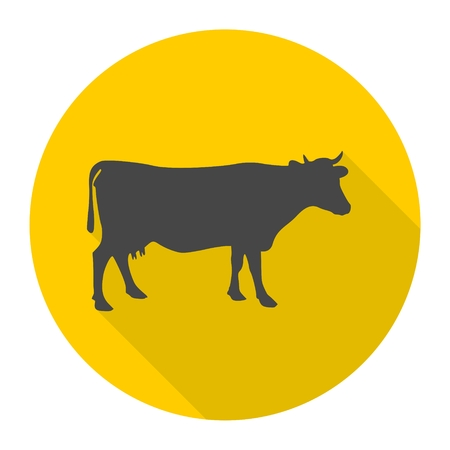 Cow silhouette icon with long shadow