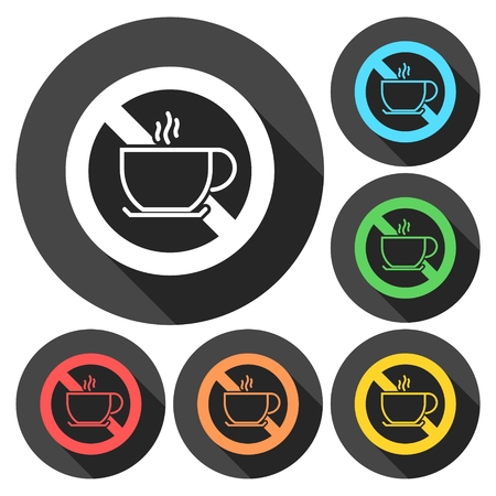 coffee breaks: No coffee breaks - No coffee sign icons set with long shadow