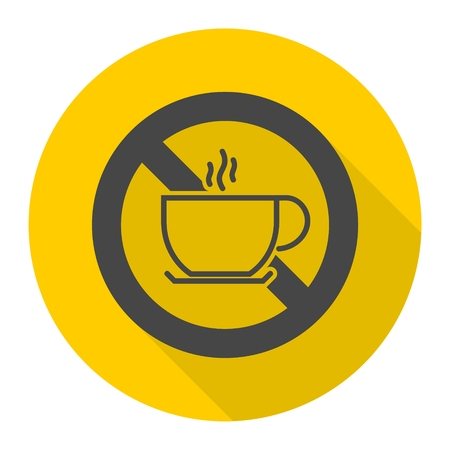 coffee breaks: No coffee breaks - No coffee sign icon with long shadow