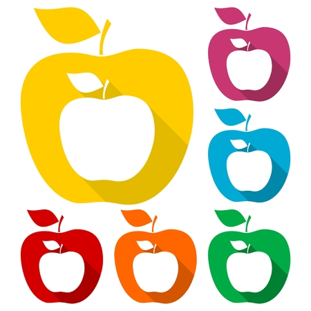 Apple - vector icons set with long shadow