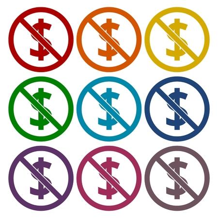 sabotage: No money sign icons set