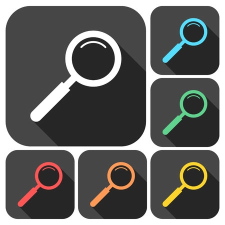 detect: Magnifying glass, Search Icons set with long shadow Illustration
