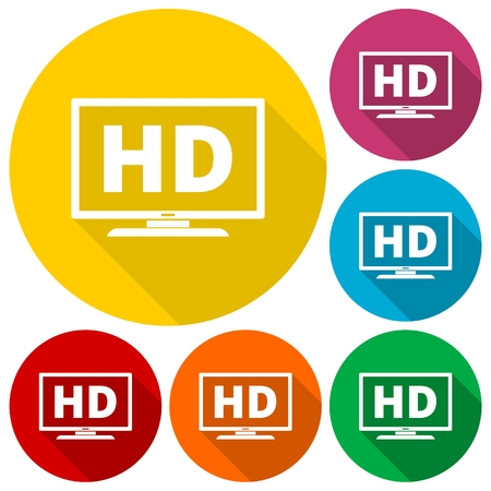 hdtv: High definition television symbol, HDTV icons set with long shadow