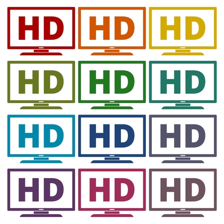 hdtv: High definition television symbol, HDTV icons set