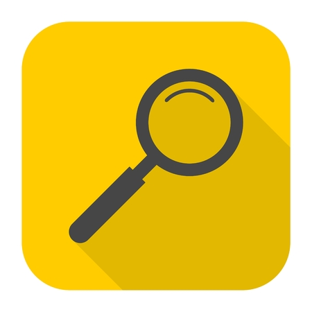 Magnifying glass, Search Icon with long shadow Illustration