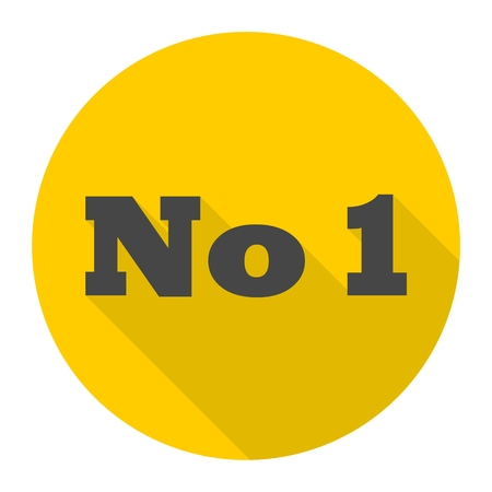 No 1 number icon with long shadow