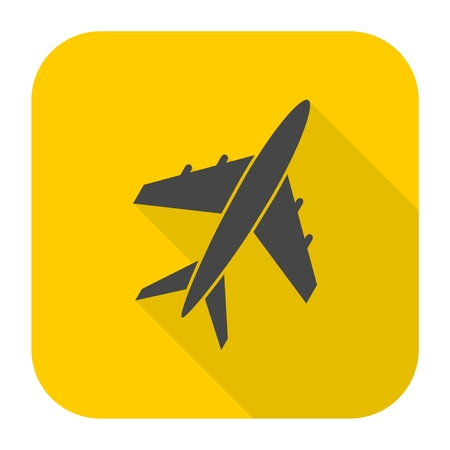 Plane icon with long shadow