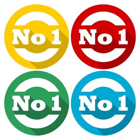 no 1: No 1 number icons set with long shadow