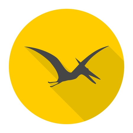 pterodactyl: Pterodactyl silhouette icon with long shadow