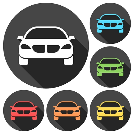 cabrio: Car Simple icons set with long shadow