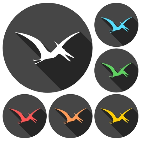 pterodactyl: Pterodactyl silhouette icons set with long shadow