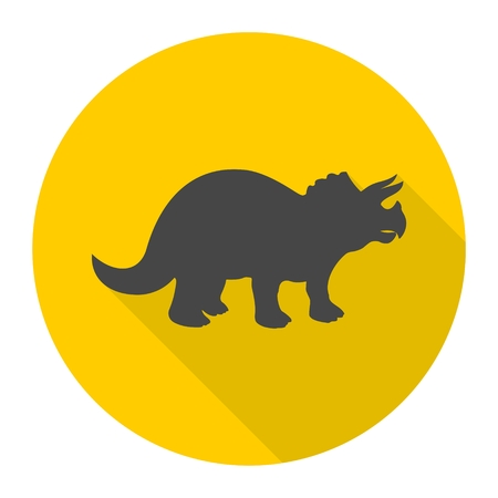 tyrannosaur: Triceratops icon with long shadow