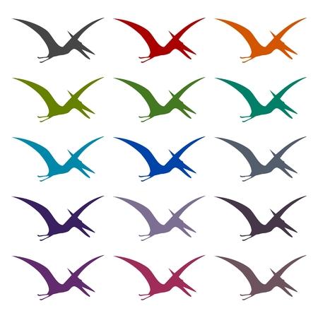 pterodactyl: Pterodactyl silhouette icons set