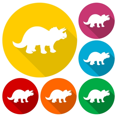 triceratops: Triceratops icons set with long shadow