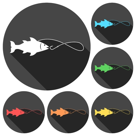marline: Fishing icons set with long shadow