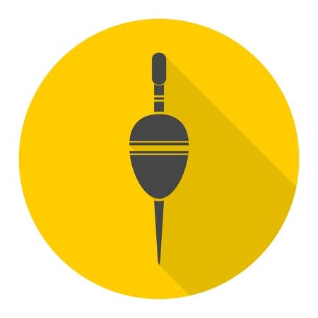 bobber: Float bobber symbol, Fishing sign icon with long shadow Illustration