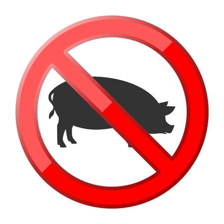 deli meat: No pig traffic sign