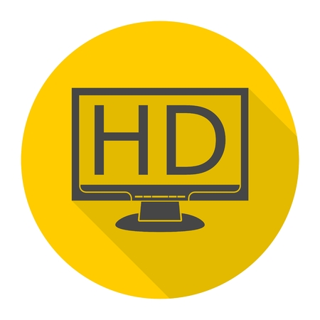 High definition television symbol, HDTV icon with long shadow