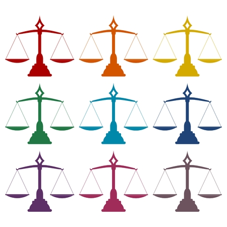 scale of justice: Justice Scale icons set Illustration
