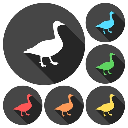 migrating: The silhouette of a goose icons set with long shadow