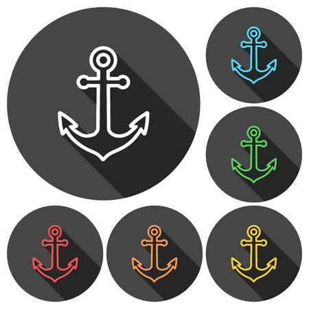 welded: Anchor icons set with long shadow